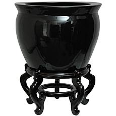 "Oriental Furniture 14"" Solid Black Porcelain Fishbowl"