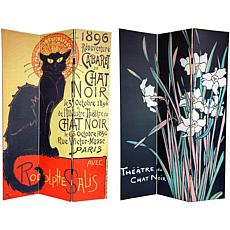 Oriental Furniture 2-Sided Chat Noir 3-Panel Divider