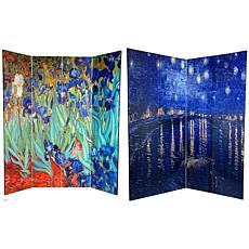 Oriental Furniture Irises/Starry Night 4-Panel Divider