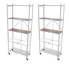 Bon Origami 2pk Of 5 Tier Pantry Racks With Wooden Shelves ...