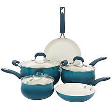 Oster Corbett 8-Piece Nonstick Aluminum Cookware Set in Teal