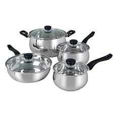 Oster Rametto 8-Piece Stainless Steel Kitchen Cookware Set with Gla...