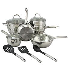 Oster Rockglass 13-piece Stainless Steel Cookware Set in Silver