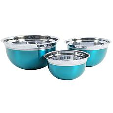 Oster Rosamond 3-Piece Round Mixing Bowl, Metallic Turquoise