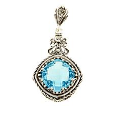 Ottoman 7.8ctw Blue Topaz Sterling Silver Bow-Design Pendant