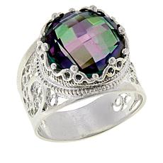 Ottoman Couture Two-Tone Rainbow Quartz Crown Ring