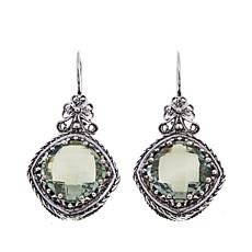 Ottoman Silver 10.4ctw Cushion-Cut Prasiolite Earrings