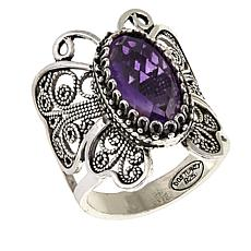 Ottoman Silver 3ct Amethyst Butterfly Filigree Ring