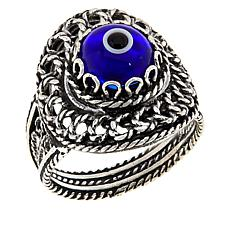 Ottoman Silver Filigree Good Luck Evil Eye Ring