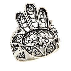 Ottoman Silver Filigree Hamsa Ring