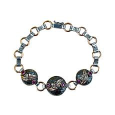 Ottoman Silver Gemstone Hammered Triple Round Station Bracelet