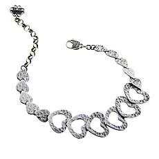 Ottoman Silver Hammered Filigree Heart Station Bracelet