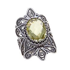 Ottoman Silver Jewelry 4.6ct Lemon Quartz Filigree Ring