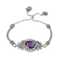 Ottoman Silver Jewelry 4ct African Amethyst Blossom Bracelet