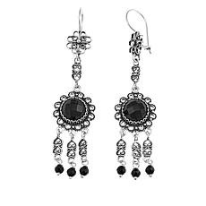 Ottoman Silver Jewelry Black Spinel Beaded Heart Drop Earrings