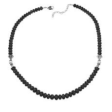 "Ottoman Silver Jewelry Black Spinel Graduated Bead 19"" Necklace"