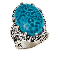 Ottoman Silver Jewelry Collection Oval Teal Turquoise Porcelain Ring