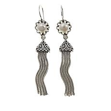Ottoman Silver Jewelry Cultured Freshwater Pearl Tassel Drop Earrings