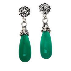Ottoman Silver Pear Gemstone Filigree Drop Earrings