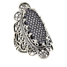 Ottoman Silver Sterling Silver Bold Filigree CZ Elongated Oval Ring