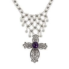 Ottoman Sterling Silver Amethyst Cross Drop Bib Necklace