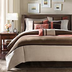 Palisades Micro-Suede 7pc Comforter Set- Cal King/Coral