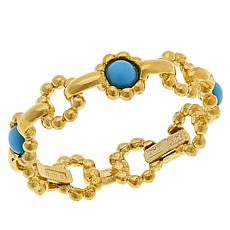 Passport to Gems 14K Gold Gemstone Scalloped Station Stackable Ring