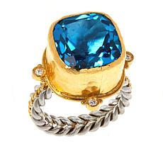Passport to Gems 24K Gold & Sterling Silver Blue Topaz & Diamond Ring