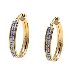 "Passport to Gold 14K Glitter 5/8"" Oval Hoop Earrings"