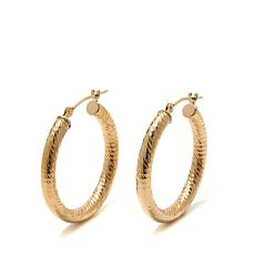 Passport to Gold  14K Gold 25mm Textured Hoop Earrings
