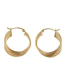 Passport to Gold 14K Yellow Gold 4-Row Swirled Hoop Earrings