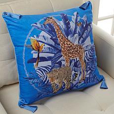 "Patricia Altschul Luxe Midnight Jungle 20"" x 20"" Pillow"