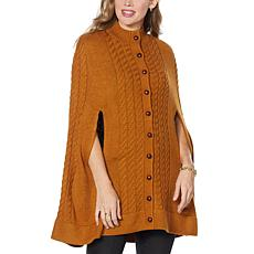 Patricia Nash Button-Front Long Cable Knit Sweater Cape