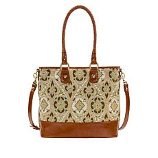 Patricia Nash Discovery Lesina Tapestry Tote with Leather Trim