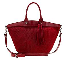 Patricia Nash Emiliano Diamond-Woven Leather Tote