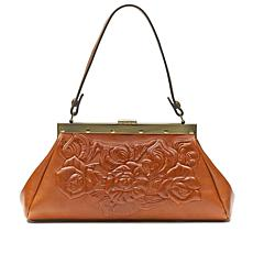 Patricia Nash Ferrara Gold Tooled Leather Frame Satchel