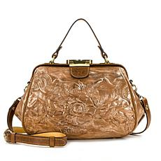 Patricia Nash Gracchi Metallic Tooled Leather Satchel
