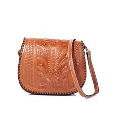 Patricia Nash Leather Metauro Tooled Saddle Bag