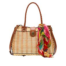 Patricia Nash Lucena Spring Wicker Twist Satchel with Scarf