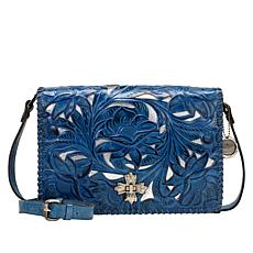 Patricia Nash Mabilia Tooled Leather Flap Crossbody Bag