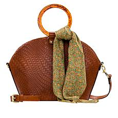 Patricia Nash Meldola Leather Dome Satchel with Scarf