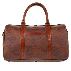 Patricia Nash Milano Canvas Duffel Bag with Leather Trim