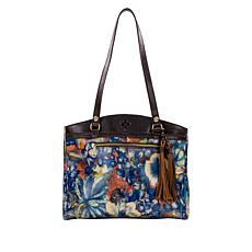 Patricia Nash Poppy Leather Blue Clay Top-Zip Tote