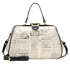 Patricia Nash Riva Newspaper-Print Large Leather Frame Satchel