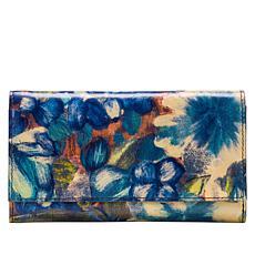 Patricia Nash Terresa Blu Clay Floral Leather Signature Wallet