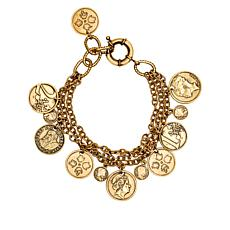 Patricia Nash World Coin Triple-Strand Dangle Bracelet