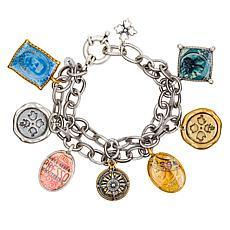 Patricia Nash World Stamp 7-1/2 Dangle Bracelet