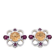 Paul Deasy Gem 3.45ctw Hessonite and Rhodolite Stud Earrings