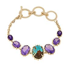 Paul Deasy Gem #8 Turquoise and Amethyst Bracelet
