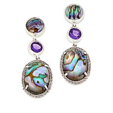 Paul Deasy Gem Abalone Shell and Amethyst Drop Earrings